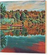 Country Lake Wood Print