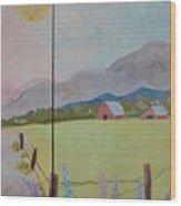 Country Landscape On Barnwood Wood Print