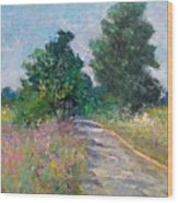 Country Path With Sunflowers Wood Print