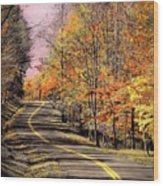 Country Road In Autumn Wood Print