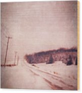 Country Road In Snow Wood Print by Jill Battaglia