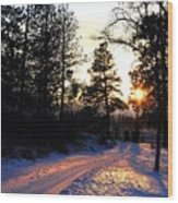 Country Road Sunset Wood Print