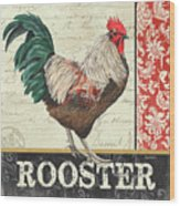 Country Rooster 1 Wood Print