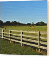 Country Scene With Field And Hay Bales Wood Print