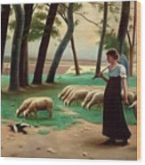 Country Shepherdess  Wood Print
