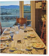 Country Table Setting Wood Print