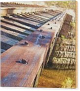 Country Train Trestle Wood Print