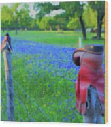Country Western Blue Bonnets Wood Print