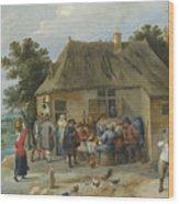 Countryside Inn Wood Print