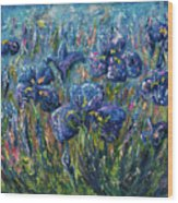 Countryside Irises Oil Painting With Palette Knife Wood Print