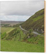 Countryside Road Bends Around Hill Wood Print