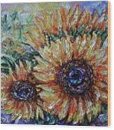 Countryside Sunflowers Wood Print