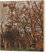 Countryside Windmill Wood Print