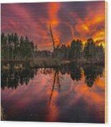 County Farm Sunset Wood Print