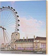 County Hall And London Eye Wood Print