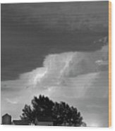 County Line Northern Colorado Lightning Storm Bw Wood Print