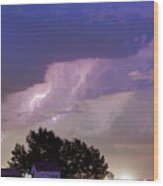 County Line Northern Colorado Lightning Storm Cropped Wood Print