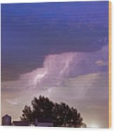 County Line Northern Colorado Lightning Storm Wood Print