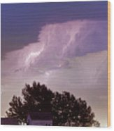 County Line Northern Colorado Lightning Storm Panorama Wood Print