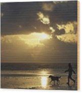 County Meath, Ireland Girl Walking Dog Wood Print