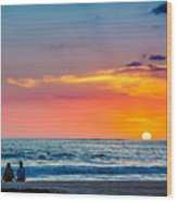 Couple At Sunset Wood Print
