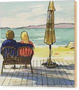 Couple At The Beach Wood Print
