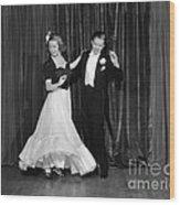 Couple Ballroom Dancing On Stage Wood Print
