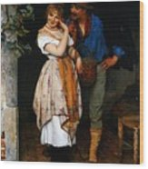 Couple Courting Wood Print
