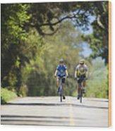 Couple Enjoying A Back Road Bike Ride Wood Print