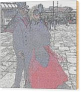 Couple In Red Wood Print