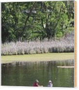 Couple In Row Boat Wood Print