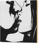 Couple Kissing Wood Print