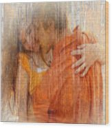 Couple Kissing In The Woods Wood Print