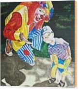Couple Of Clowns Wood Print