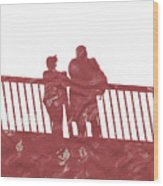 Couple On Bridge Wood Print