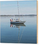 Couple Prepare Sailing Boat In Chiemsee Lake In Germany Wood Print
