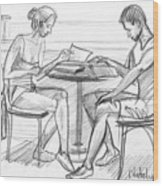 Couple Reading Black And White Wood Print