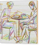 Couple Reading Wood Print