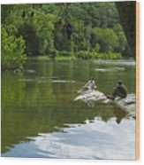 Couple Relaxing By The Shenandoah River At Harpers Ferry Wood Print