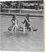Couple Relaxing In Pool, C.1930-40s Wood Print