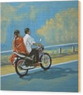 Couple Ride On Bike Wood Print