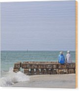 Couple Sitting On An Old Jetty Siesta Key Beach Florida Wood Print