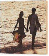 Couple Wading In Ocean Wood Print