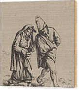 Couple Walking Wood Print