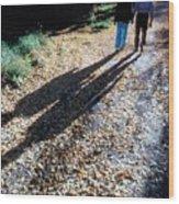 Couple Walking In The Fall Wood Print