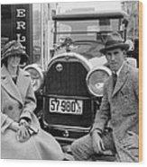 Couple With Their Peerless Car Wood Print