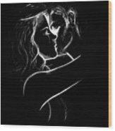 Couples Embrace Wood Print