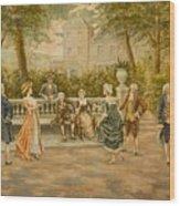 Couples On Veranda Of Chateau Wood Print