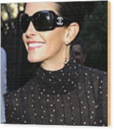 Courteney Cox Wearing Chanel Sunglasses Wood Print by Everett