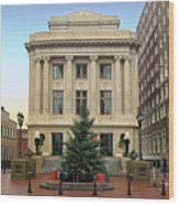 Courthouse At Christmas Wood Print